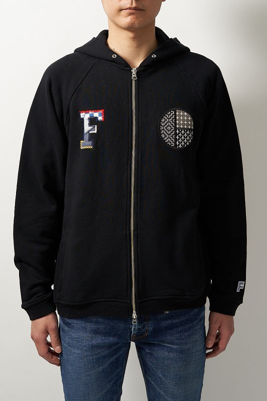 CIRCLE SASHIKO ZIP PARKA BLACK