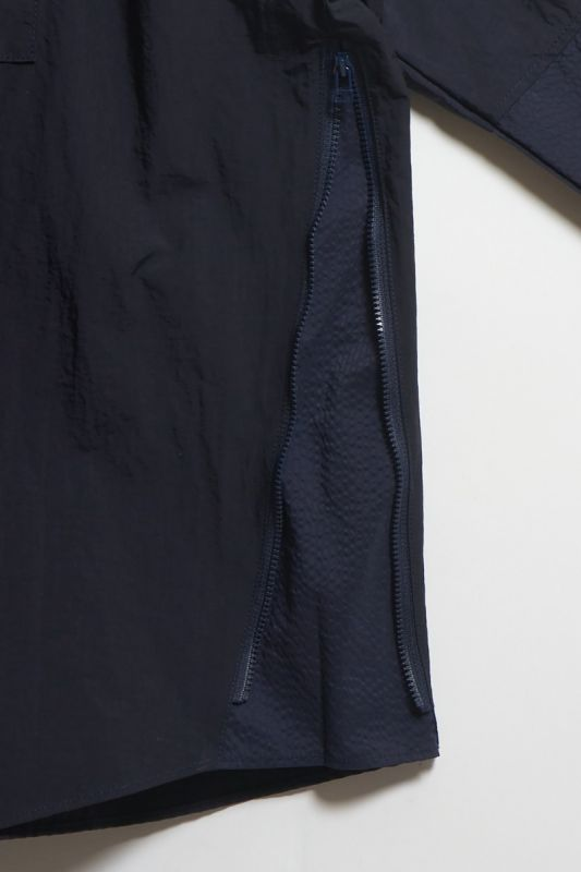 SIDE ZIP OVERSIZED SHIRT NAVY 21SS