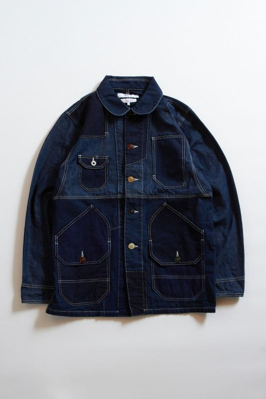 PATCHWORK COVERALL JACKET RINSE INDIGO 21AW