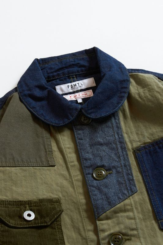PATCHWORK COVERALL JACKET RINSE KHAKI 21AW