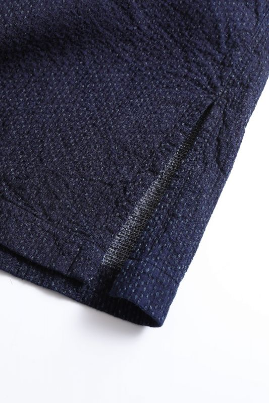 SASHIKO SHAWL COLLAR COAT INDIGO DOT