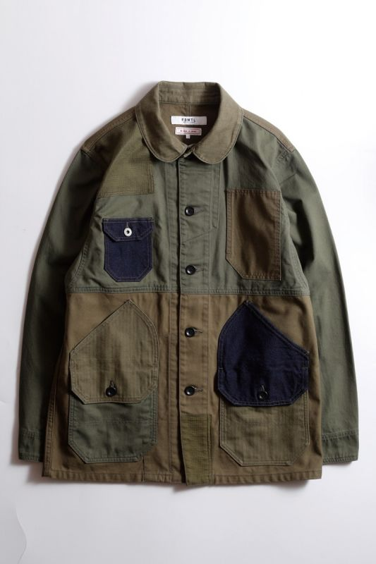 PATCHWORK COVERALL JACKET RINSE KHAKI